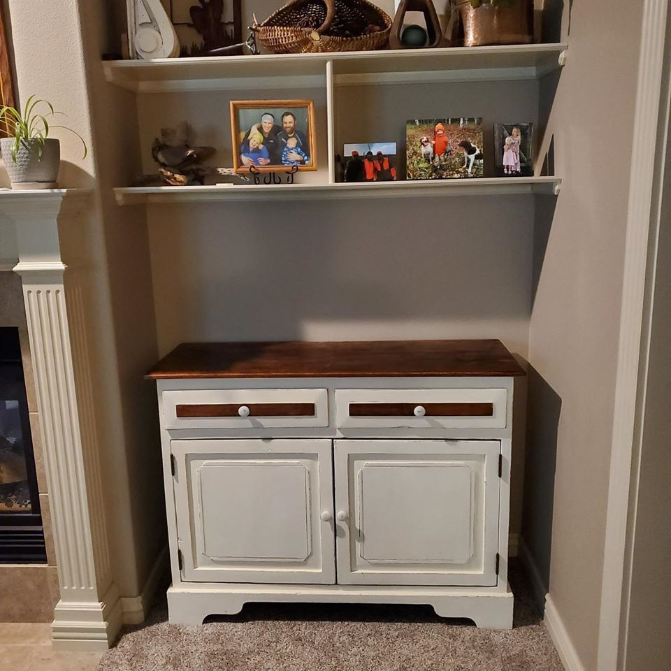 Farm Style Buffet Made From Repurposed Kitchen Cabinet Bottom In 2020 Repurposed Kitchen Farm Style Cabinet