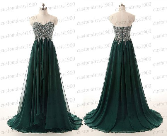 Green long evening dresssweetheart prom von customdress1900 auf Etsy