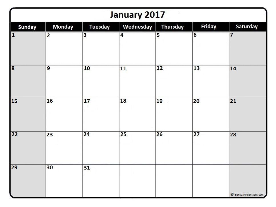 January 2017 monthly calendar printable Printable calendars - free printable monthly calendar