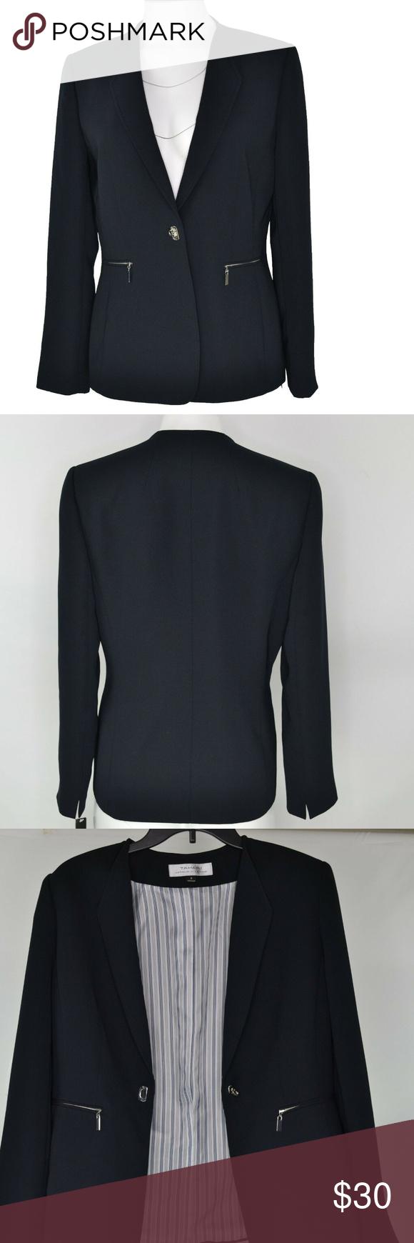 Tahari Womens Missy Crepe Suit Jacket Black 8 New Clothes Design Jackets Colored Blazer [ 1740 x 580 Pixel ]