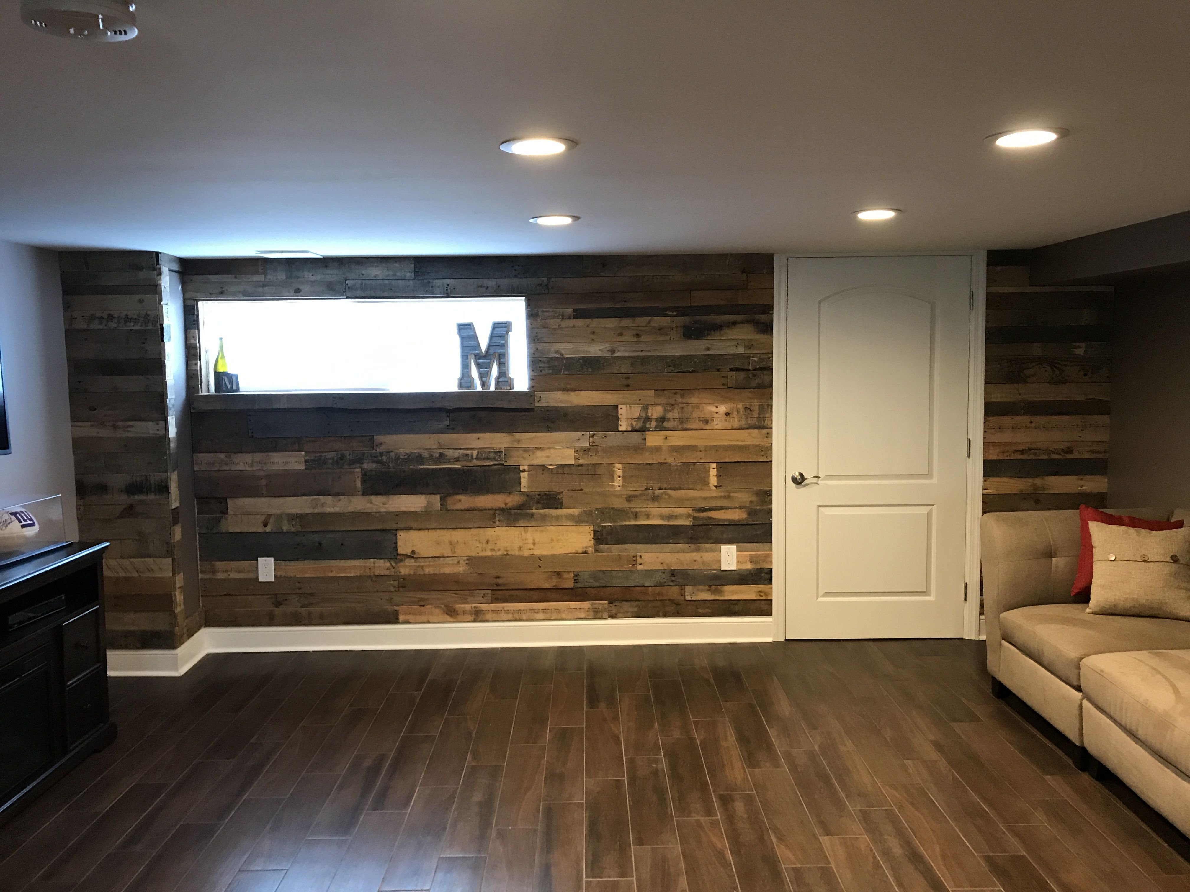 Pallet Wood Accent Wall With Baseboard In Basement Mancave Man Cave Home Bar Man Cave Wall Decor Bars For Home
