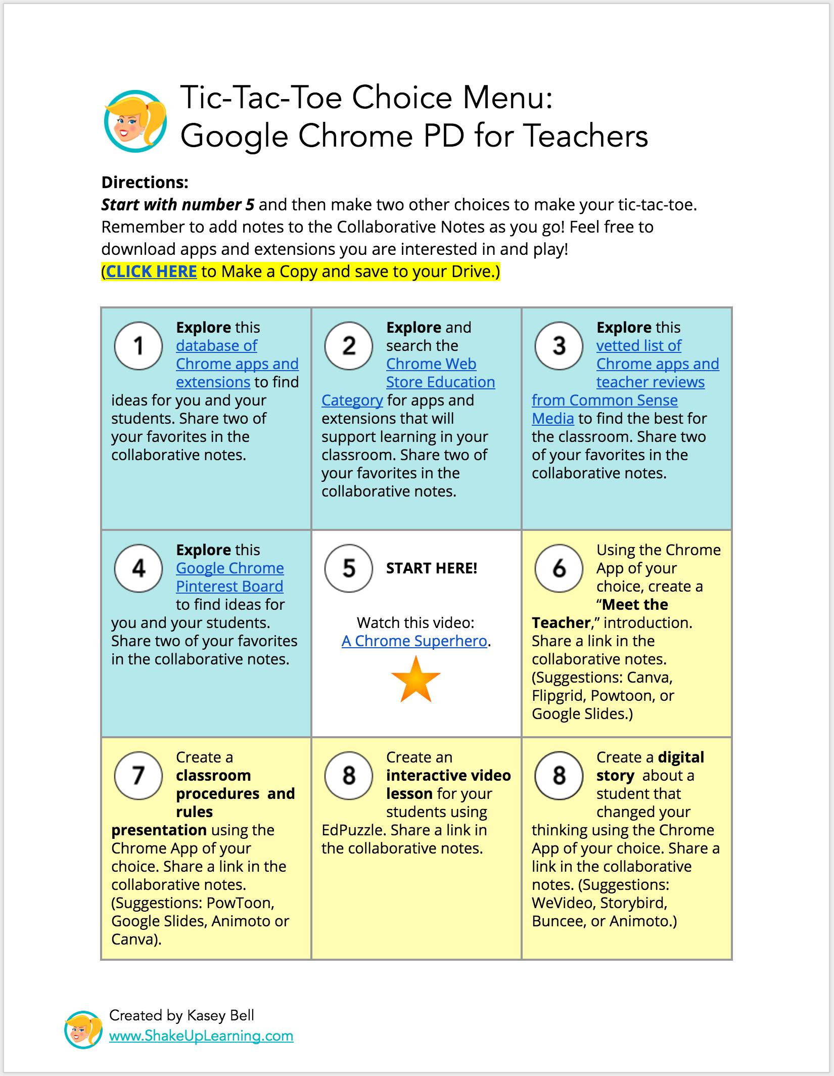 Interactive Learning Menus Choice Boards Using Google Docs Epic