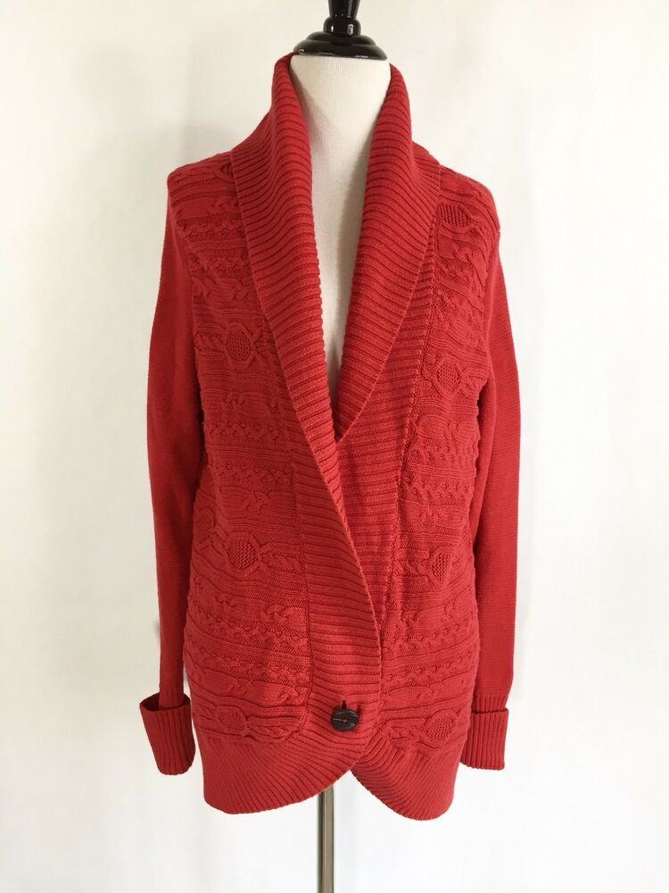 Tommy Hilfiger Womens Cardigan Sweater Sz Large Red Long