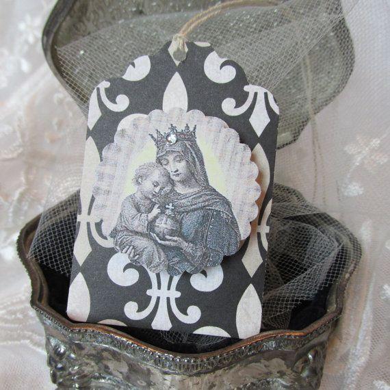 Crowned No. 3 - Elegant Religious Tags - Fleur De Lis Black and Cream