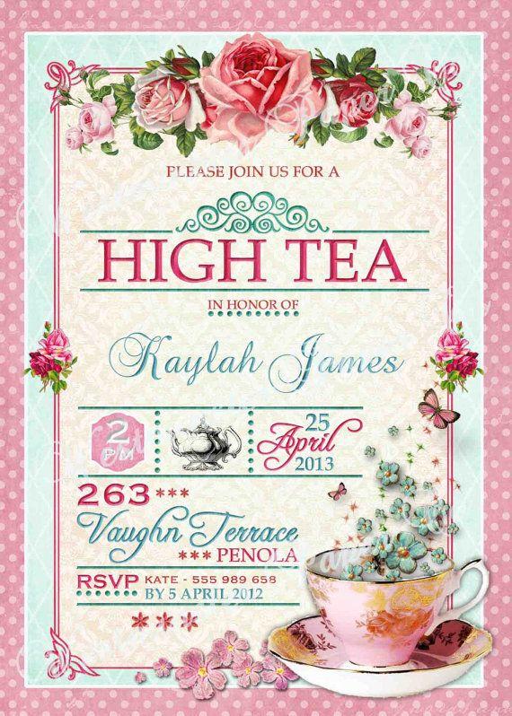 High Tea Invitation Tea Party Bridal Shower Brunch Lunch Flower – Bridal Shower Tea Party Invitation