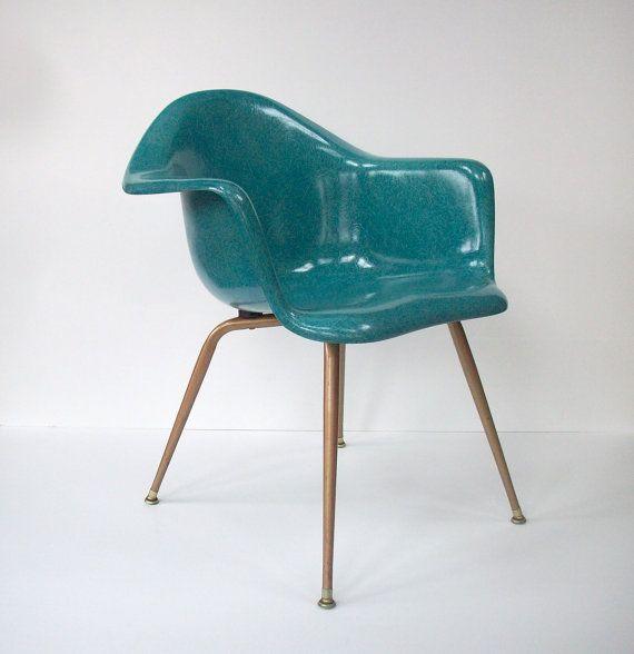 Vintage Chromcraft Fiberglass Shell Chair / Mid Century Modern / Eames Era  / Turquoise Color /