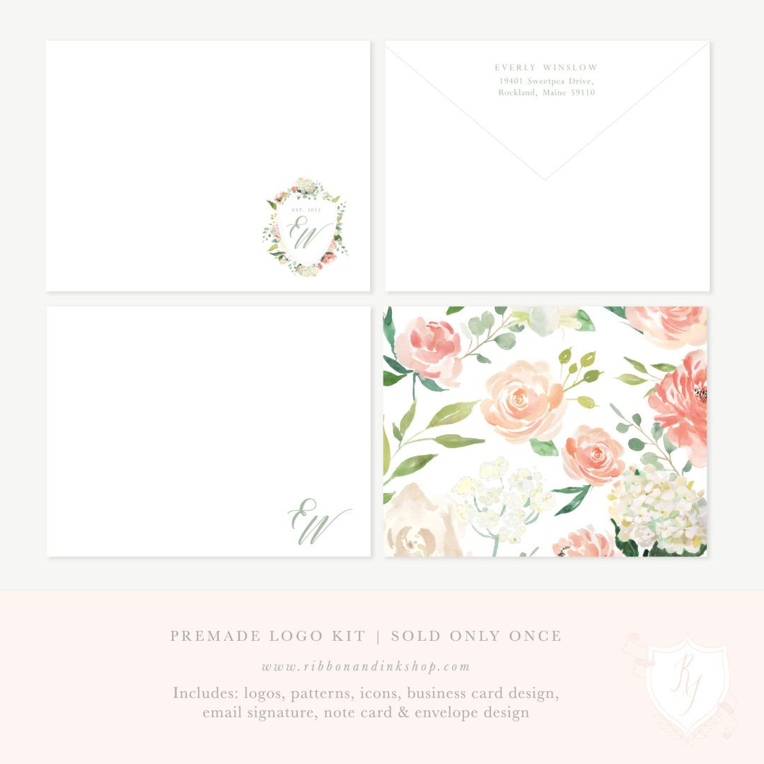 Premade Logo Kit | Everly Winslow | Business cards, Email signatures ...