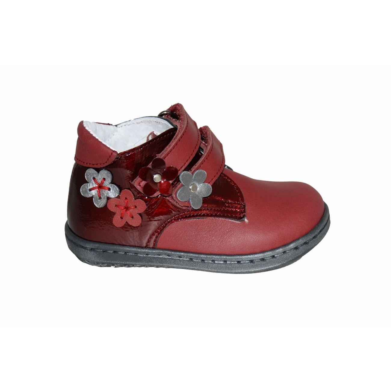 795b83140f2 Μποτάκι πρώτα βήματα δερμάτινο μπορντό, αυτοκόλλητα κουμπώματα, ανατομικό  πέλμα, σχέδιο με λουλούδια, ΜΟΥΓΕΡ