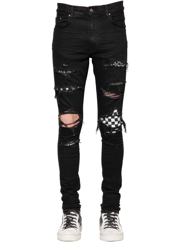 Amiri Amiri Cloth Super Skinny Jeans Men Ripped Jeans Men Mens Destroyed Jeans [ 1500 x 1125 Pixel ]