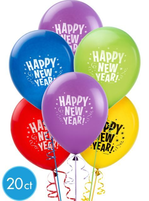 Multicolor New Years Latex Balloons - Party City