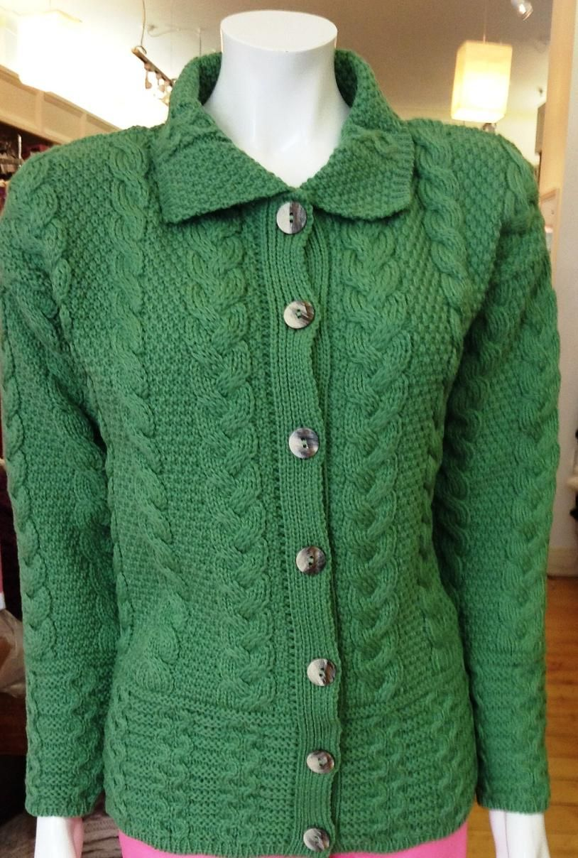 Special Offer Aran style button collar cardigan. Made from ...