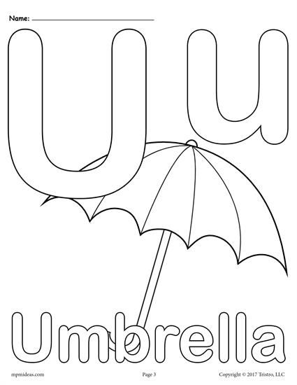 Letter U Alphabet Coloring Pages - 3 FREE Printable Versions ...