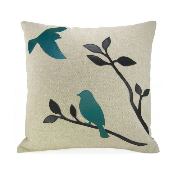 Turquoise bird throw pillow case - Black and teal birds In nature applique on natural linen ...