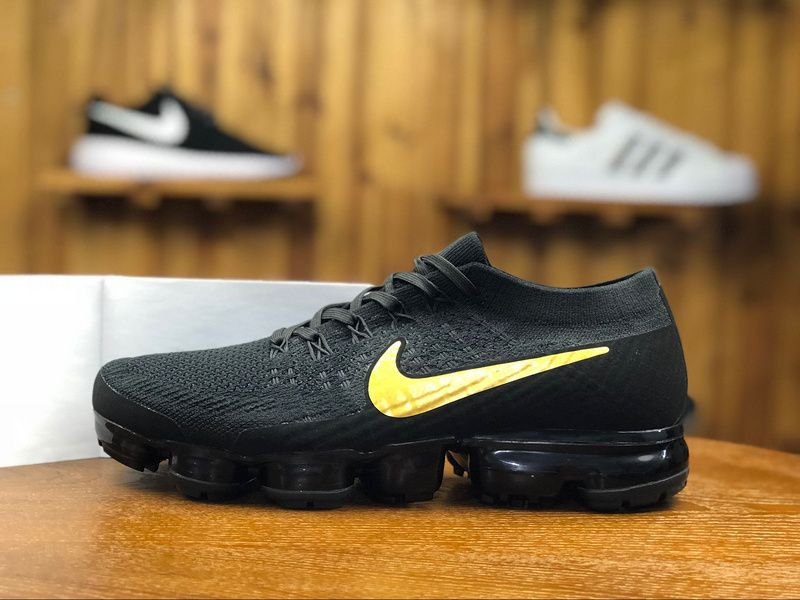a6f60a40a6ce 2018 Nike Air Vapormax Flyknit Mens Athletic Shoes Black Golden AA3851-107
