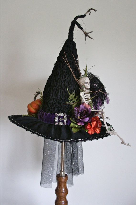 Handmade Victorian Witch Hat By Studio Sisu Skeleton Real Etsy Witch Hat Halloween Halloween Crafts