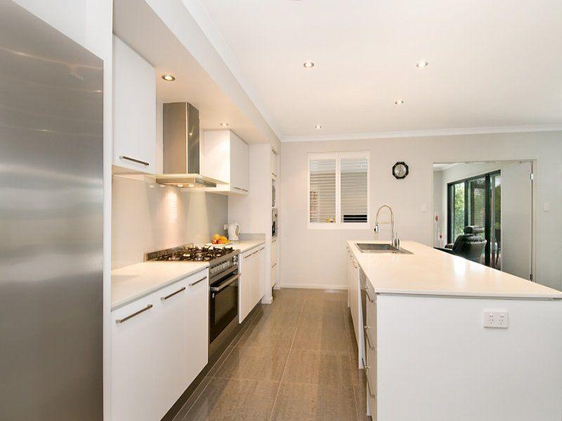 decoration modern white galley kitchen designs space illusion