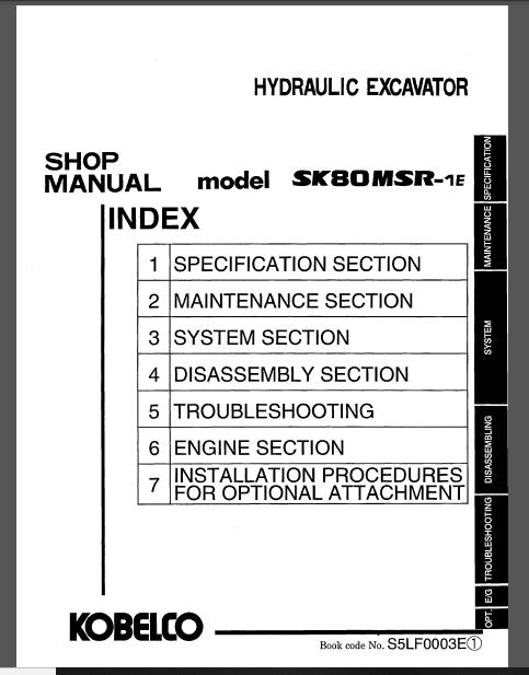 Kobelco Sk80msr 1e Crawler Excavator Service Repair Manual In 2020 Repair Manuals Excavator Manual