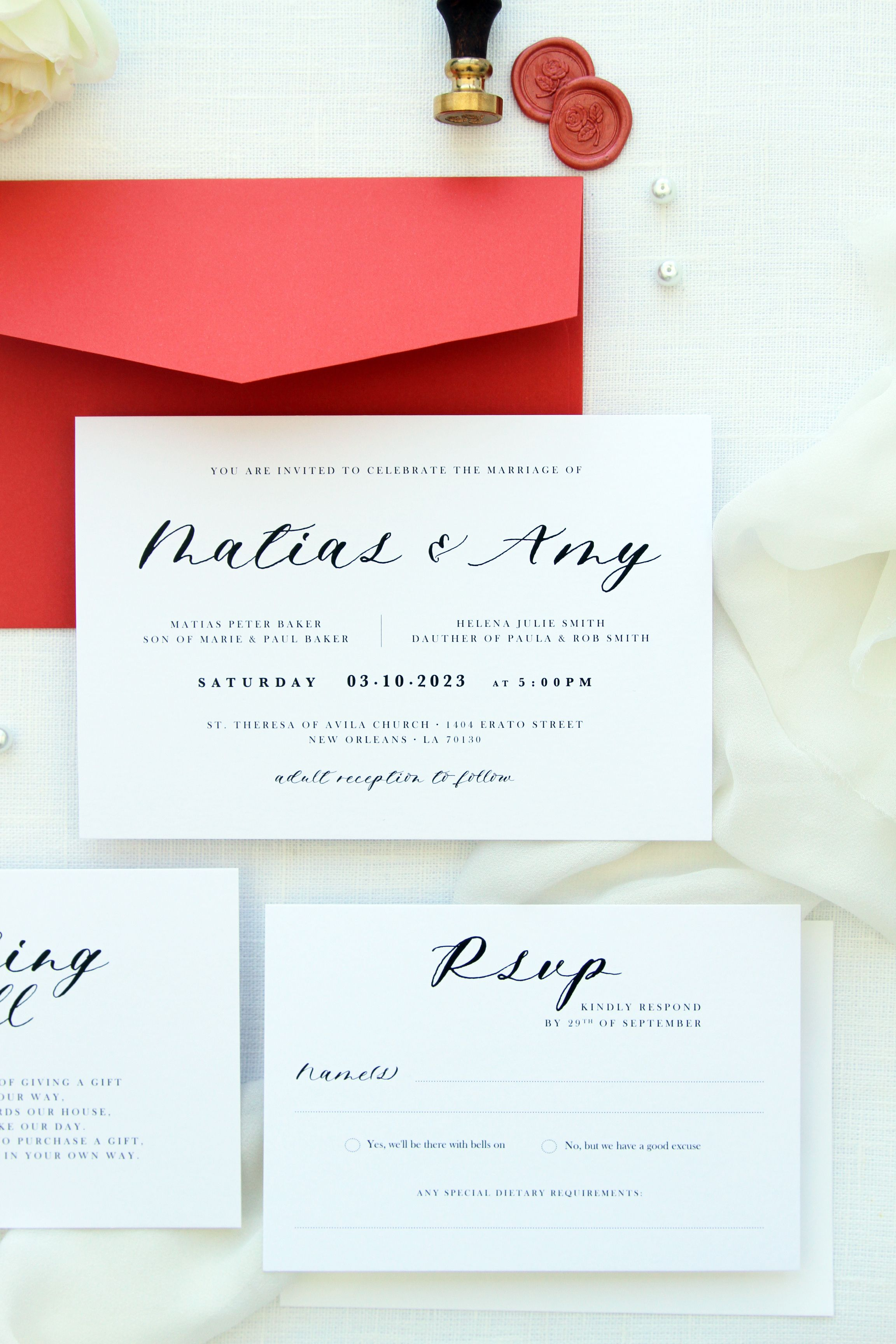 Amy Coral Wedding Invitation Sets, Coral Beach Wedding Invitations ...