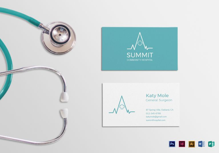 Medical Business Card Template Formats Included  Illustrator