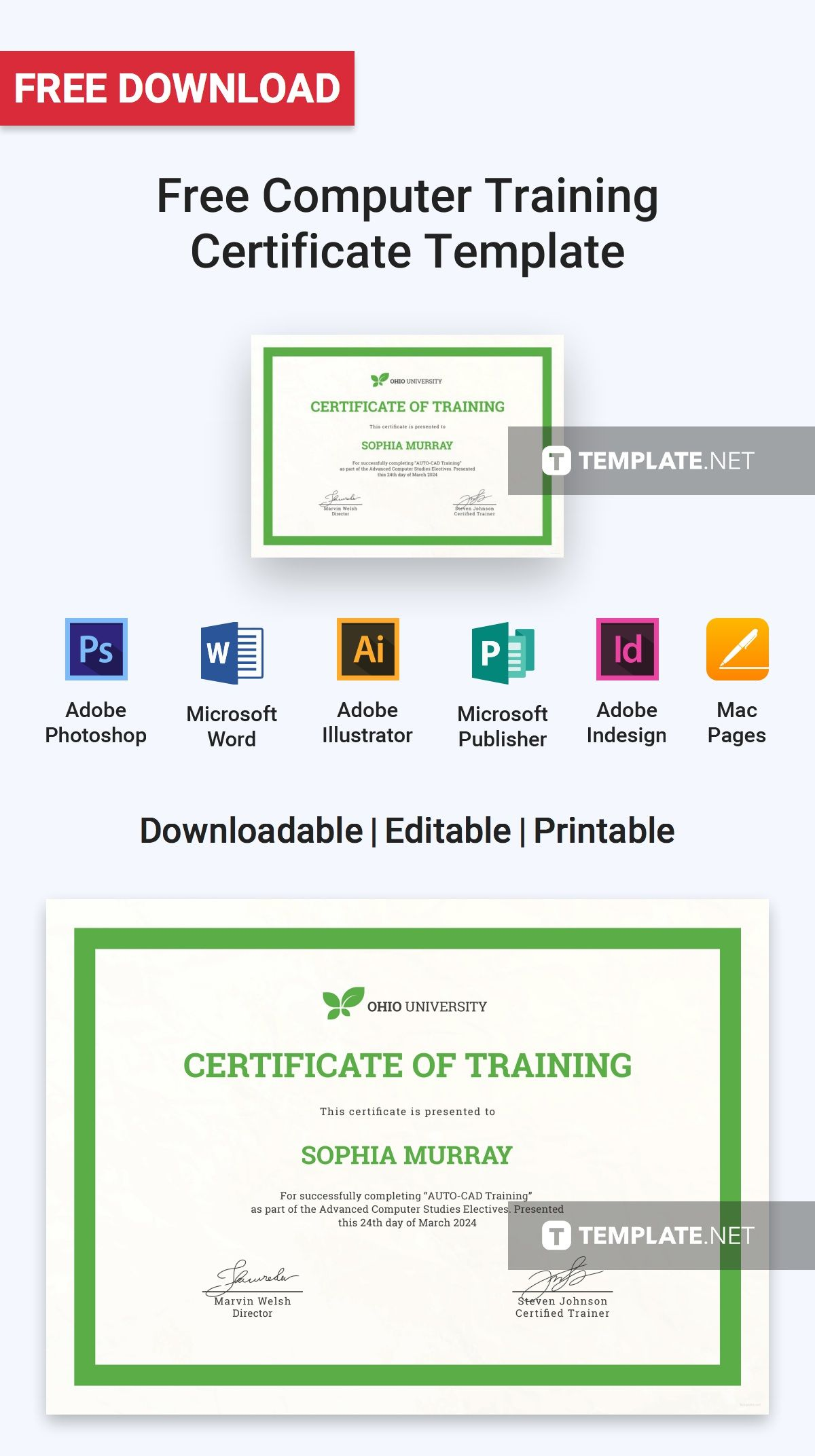 Free Computer Training Certificate Certificate Templates Designs