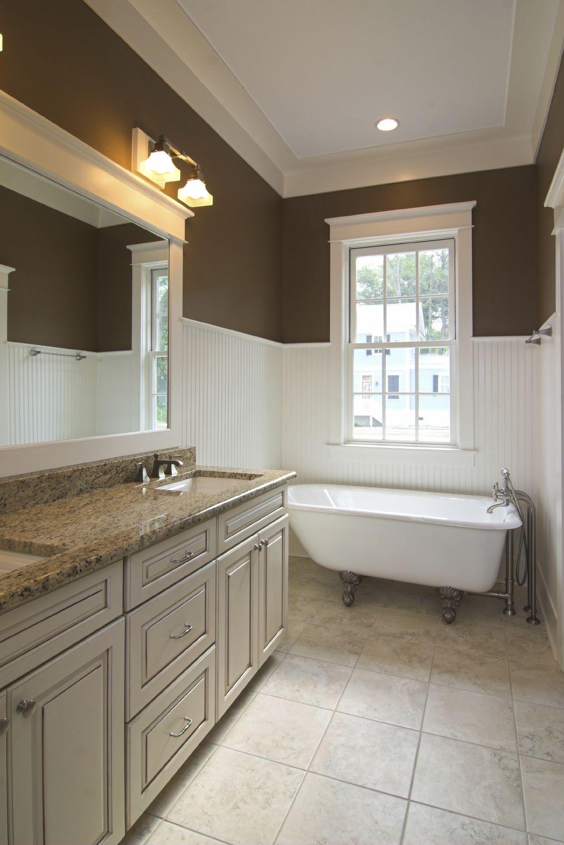 Bathroom Lighting Needs wainscoting, large tile floor, updated cabinet - needs white/light