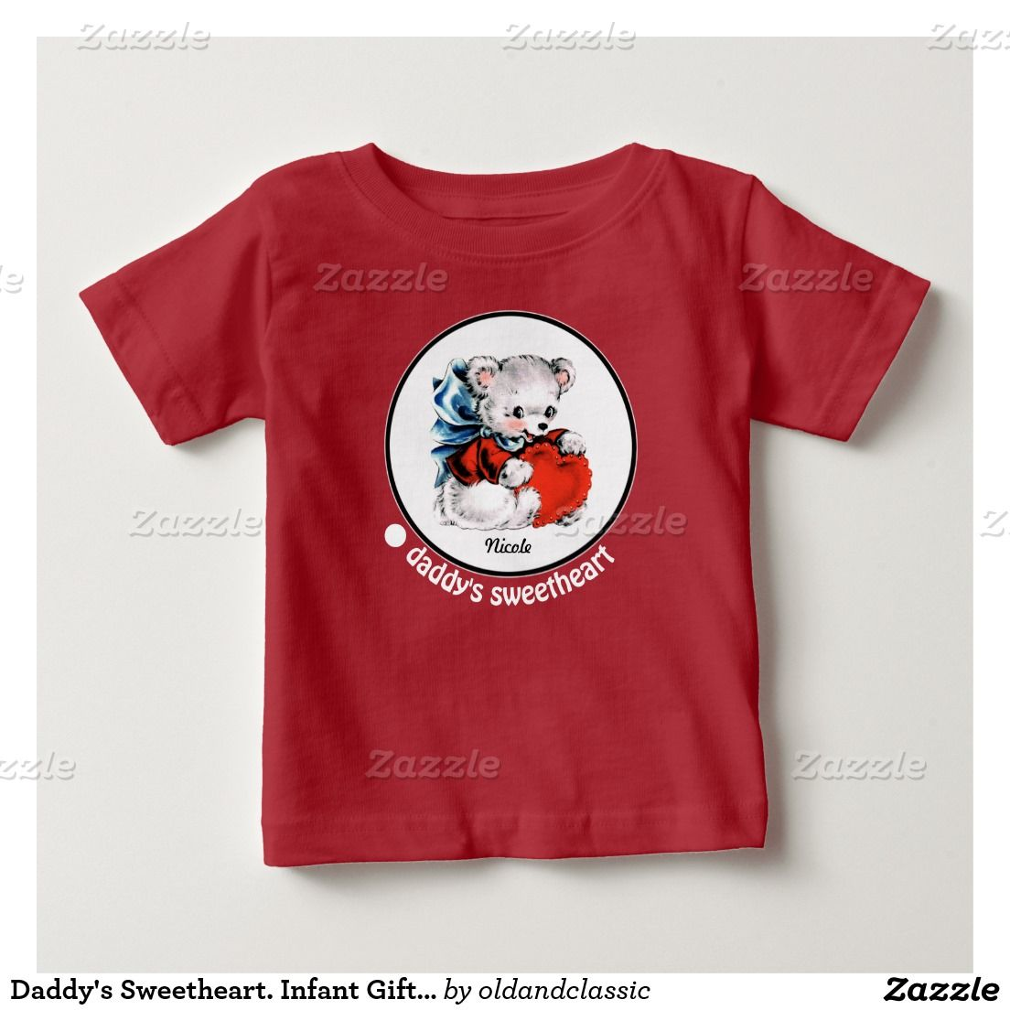 Daddy's Sweetheart. Vintage Teddy Bear with heart design Infant Gift T-Shirts and Sweatshirts with personalized kid's name. Matching cards, postage stamps and other products available in the Holidays / Valentine's Day Category of the oldandclassic store at zazzle.com
