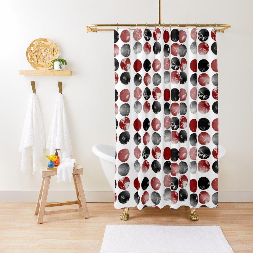 rideau de douche abstrait ronds rouge