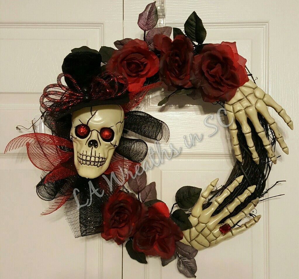 Halloweeen skeleton mesh and grapevine wreath