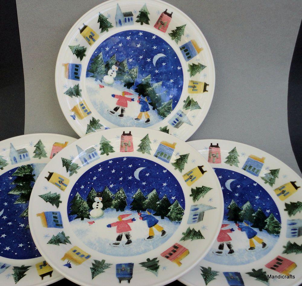 Nikko Japan Dinner Plate x 4 Christmas Winter Wonderland 1995 -04 ...