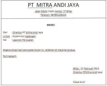 Contoh Memo Resmi Perusahaan PD TAMAN SATWA KEBUN BINATANG - legal memo
