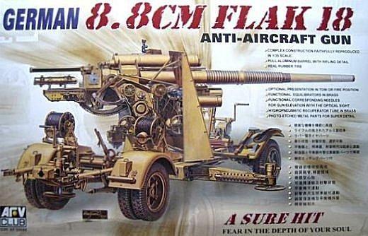 German 8.8cm Flak18, Anti-Aircraft Gun. AFV Club, 1/35, initial release 2005, No.AF35088. Price: 34,95 EUR (marketplace).
