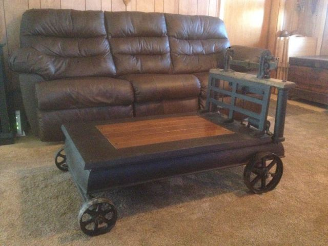 Antique Platform Grain Scale Coffee Table For Sale 800