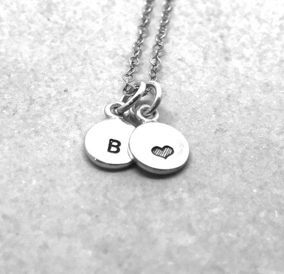 mini initial necklace with heart sterling silver letter b necklace all letters available hand st