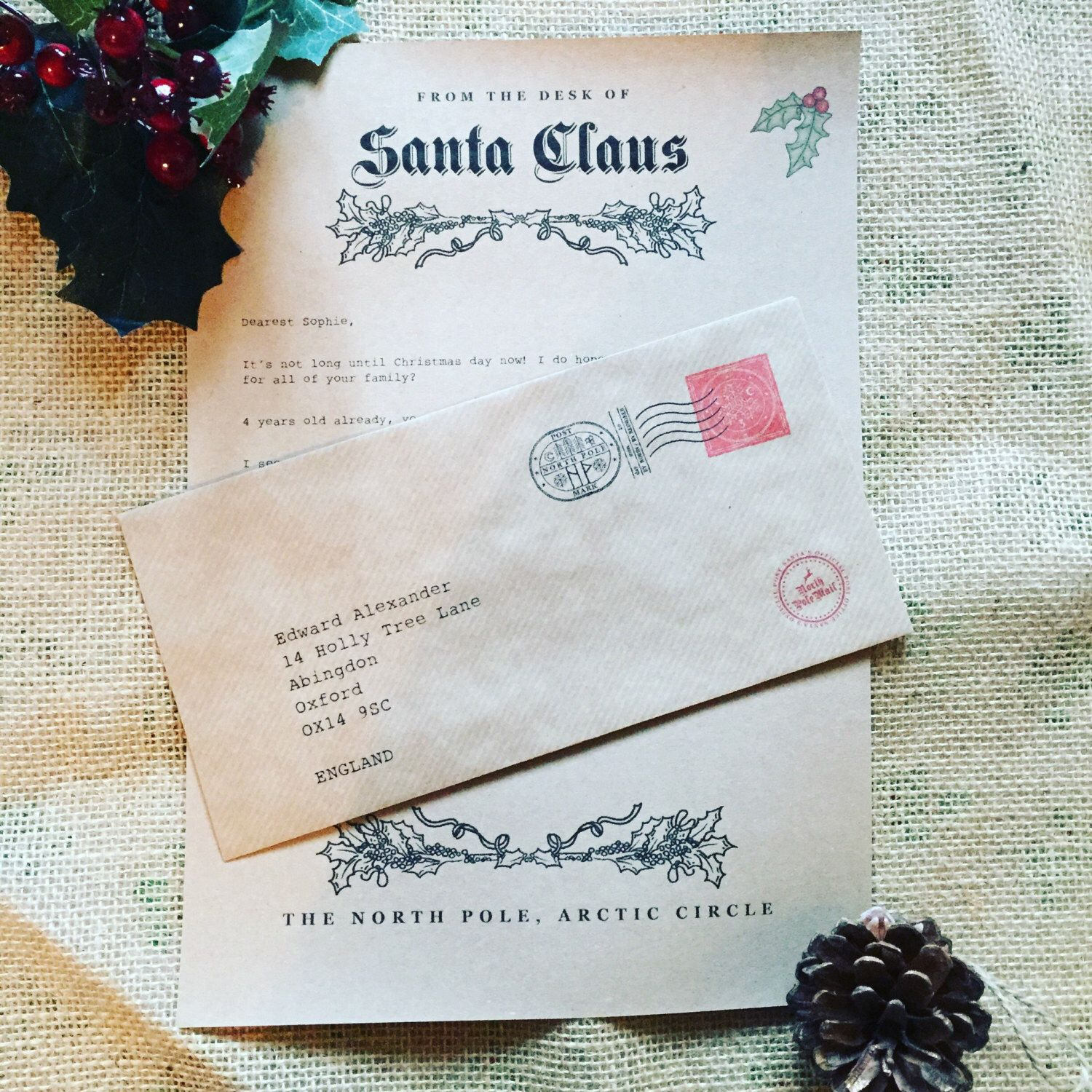 Christmas Letter from Santa Personalised, rustic