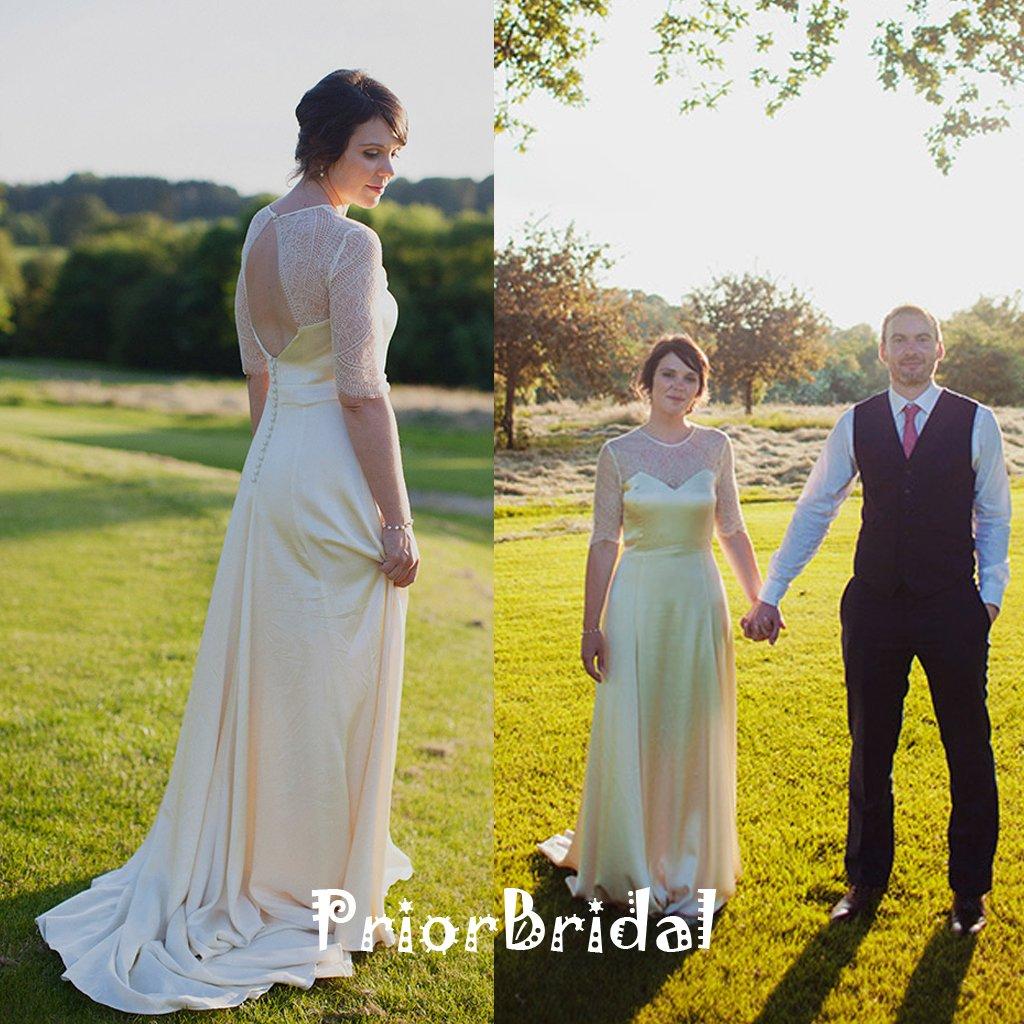 Vintage half sleeve open back sweetheart long aline wedding dresses