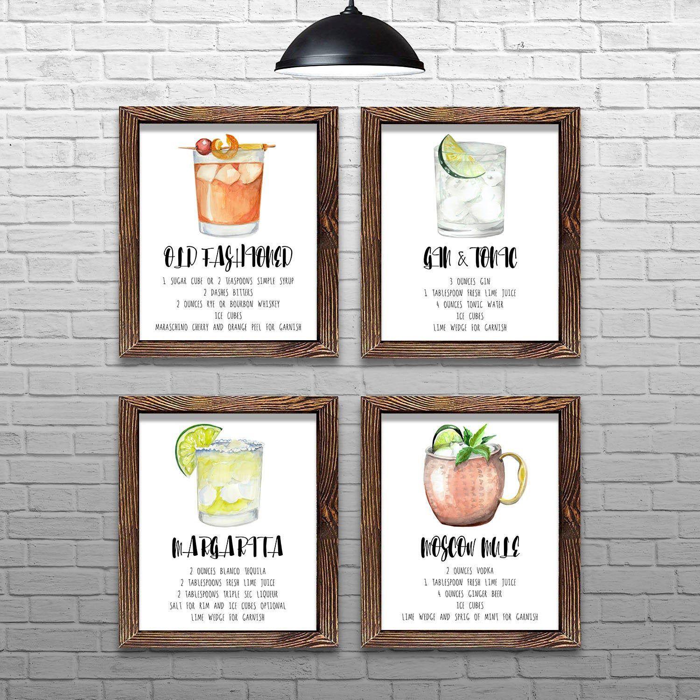 Bar decor posters wall art prints set of 4 printable