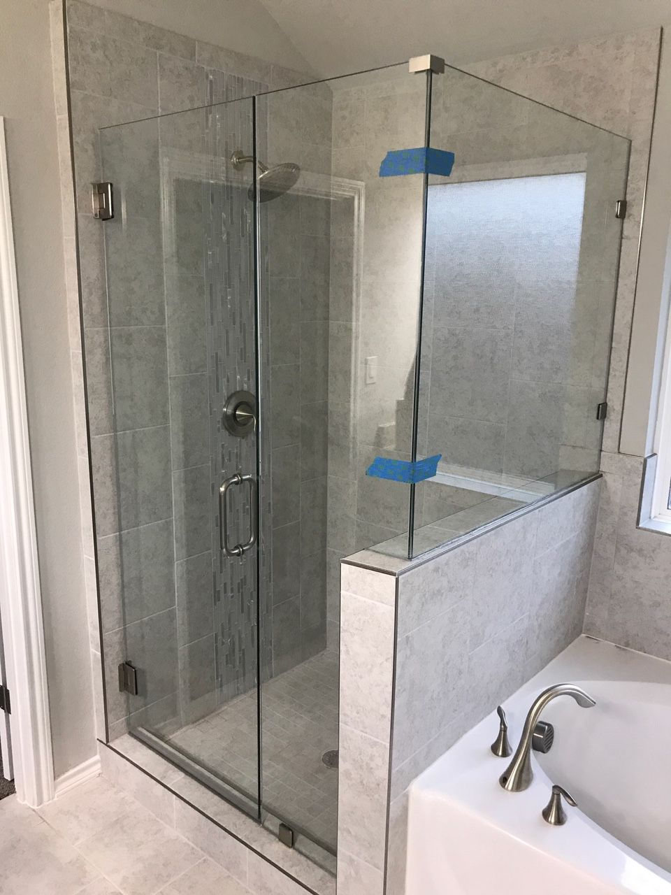 Dallas Bath And Gl Inc Frameless 90 Degree Shower Enclosure With 3 8 Heavy Clear Silver Chrome Hardware From Crl