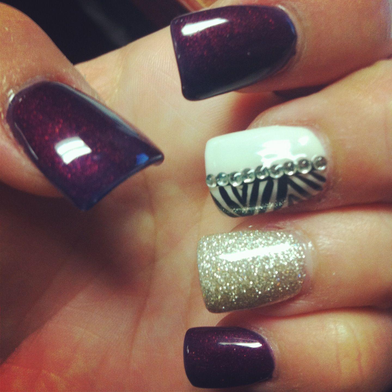 Burgundy Purple Glitter Fall Gel Diamond Nails | Makeup and Nails ...