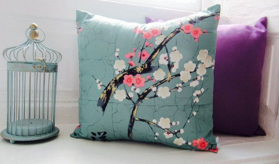 Beautiful Blossom Print Cushion - Teal Pink and White Cherry Blossom Pillow - Oriental Print Cushion