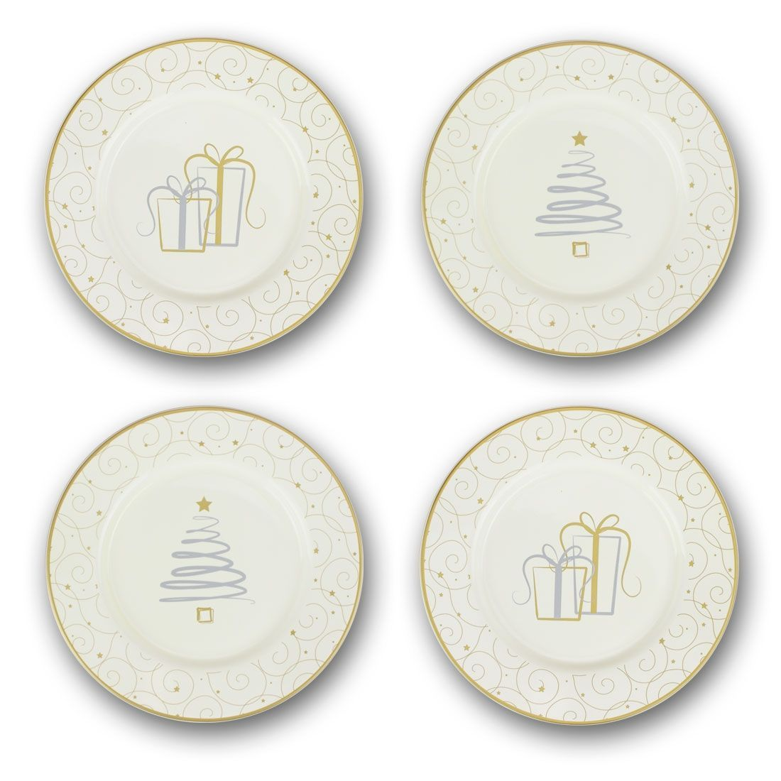 Russ Berrie Christmas Dessert Plates Set of 4 Grey  sc 1 st  Pinterest & Russ Berrie Christmas Dessert Plates Set of 4 Grey | Products ...