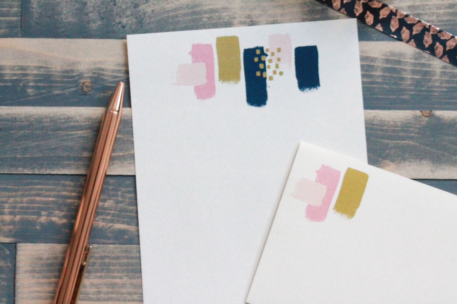 pink and gold painted letter writing set writing paper