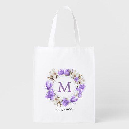 Photo of Watercolor Purple Magnolia Wreath Monogram Grocery Bag | Zazzle.com