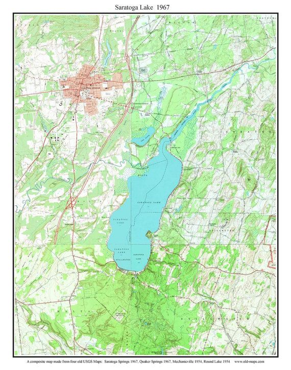 Saratoga Lake 1967 Usgs Old Topographic Map By Custom