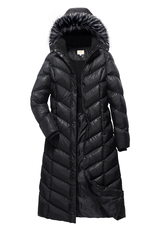 ELORA Womens Winter Maxi Puffer Long Length Coat Fur Trim Removable Hood