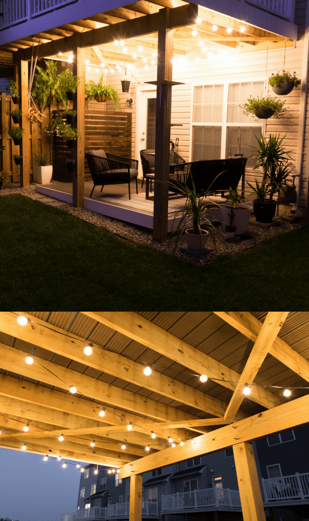 Pin On Outdoor Patios, How To Hang Outdoor String Lights Under Patio