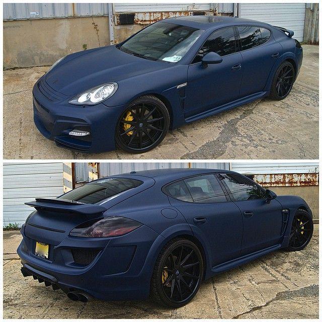 Wald Black Bison Porsche Panamera wrapped in 3m matte blue ...