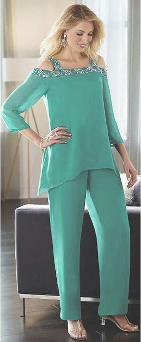 Charming Pant Suits Chiffon Square Neckline Full-length Mother Of ...