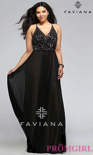 long v-neck faviana plus size prom dress at promgirl | plus