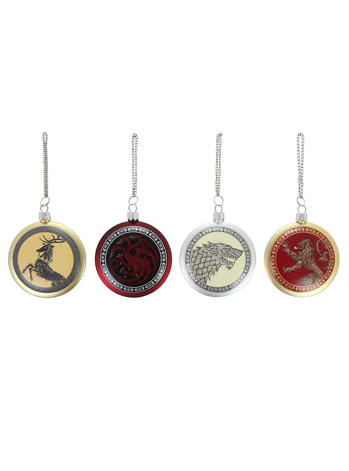 Game Of Thrones 4 Piece Holiday Ornament Set Game Of Thrones Merchandise Ornament Set Holiday Ornaments