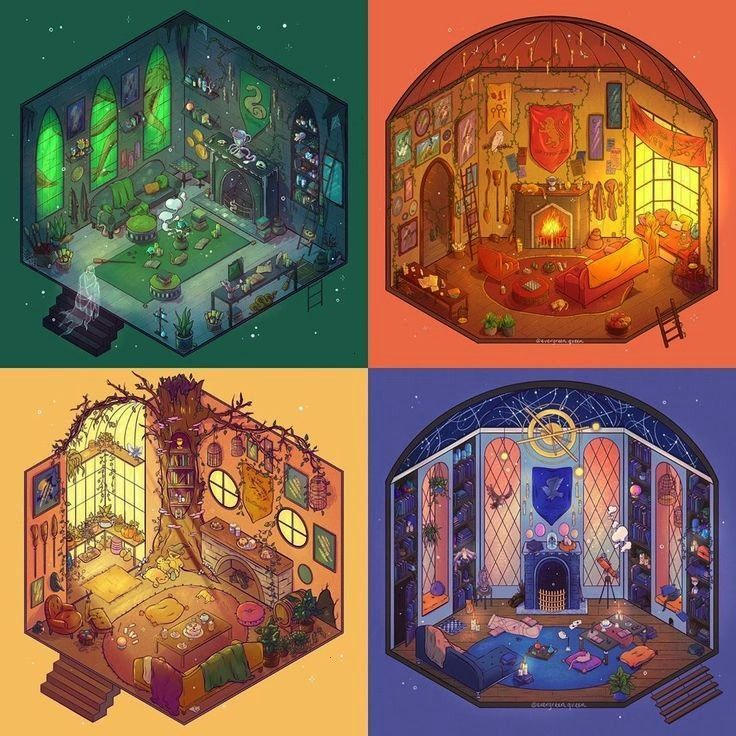 Hogwarts houses common rooms! ???? Which house design is your favori... - Harry Potter -